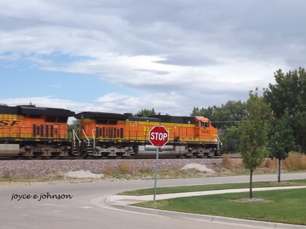 A BNSF train passes through Loveland, Colorado