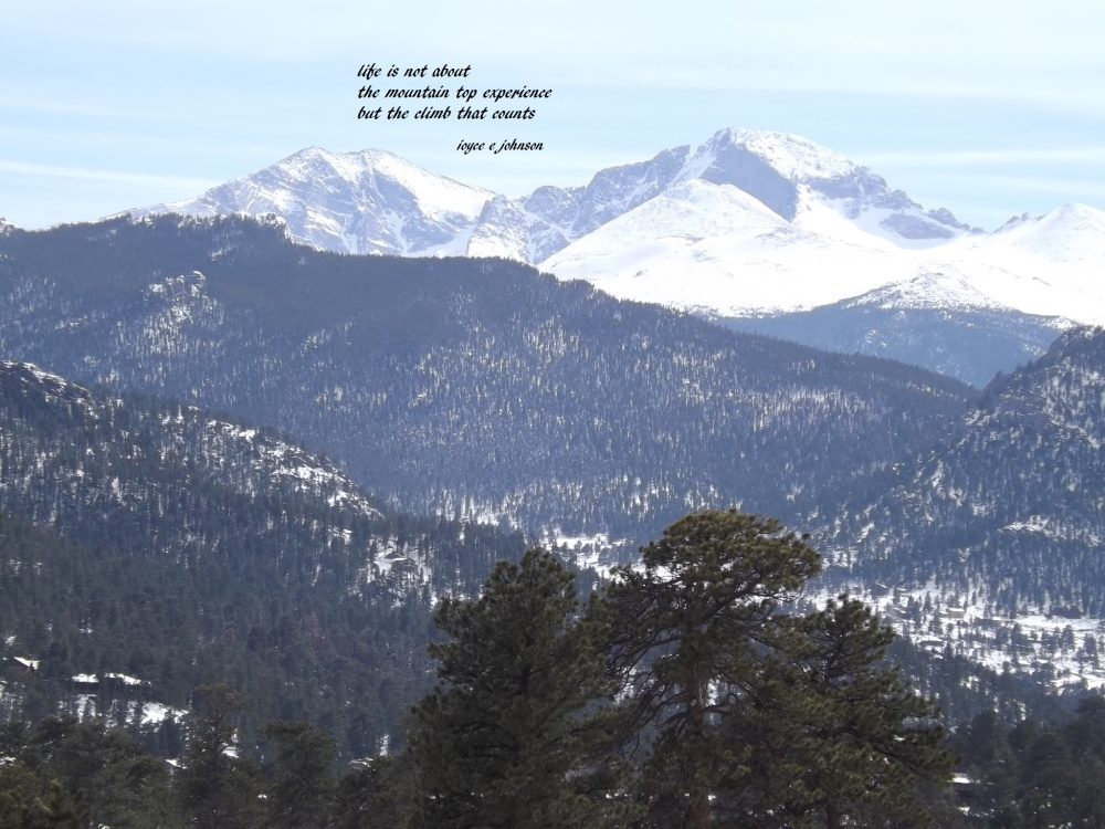 A view of Long's Peak in the Rocky Mountains from Estes Park, Colorado