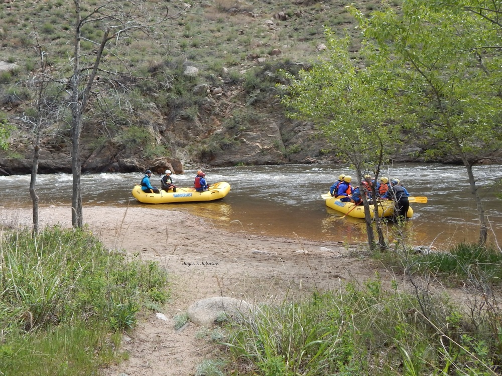 Rafters on the Cache La Poudre River, northwest of Fort Collins, Colorado, May 15th, 2015 We drove up to see what the river looked like after getting so much rain and got there just as these rafters were ready for their trip down. This section of the river is just a few miles south of our mountain property in Glacier View Meadows, so we are always checking on water levels and conditions after experiencing the big flood in Sept., 2013