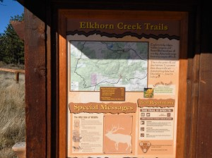 The beginning point of the Elkhorn Creeks trail where we started our climb up the mountain.