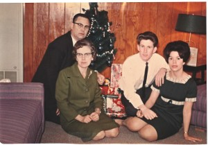 Our first Christmas, celebrated in 1966, with my parents in L.A., Ca.